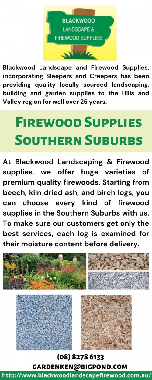 At Blackwood Landscaping & Firewood supplies, we offer huge varieties of premium quality firewoods. Starting from beech, kiln dried ash, and birch logs, you can choose every kind of firewood supplies in the Southern Suburbs with us. To make sure our customers get only the best services, each log is examined for their moisture content before delivery. They come with a guarantee of less than 20 percent of moisture content and are available on sale and delivery all 7 days. You can also register for our free loan trailers from the comfort of your home. To get best quality locally sourced landscaping, building and garden supplies, give us a call on (08) 8278 6133 now!  http://www.blackwoodlandscapefirewood.com.au/
