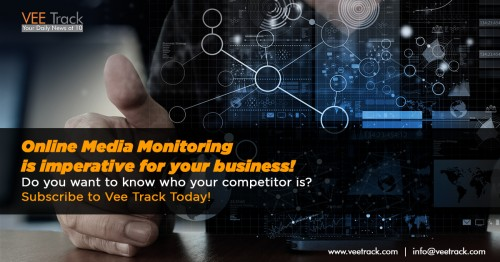 Vee Track offers 360 technology-driven online media monitoring services, which will elevate your business to another parameter. Do you want to know who your competitor is? Subscribe to Vee Track Today!  Visit: www.veetrack.com/services/media-monitoring/online-media-monitoring.html   #onlinemediamonitoring #businessnews #businessindustryupdates #business #media #competitor #veetrack