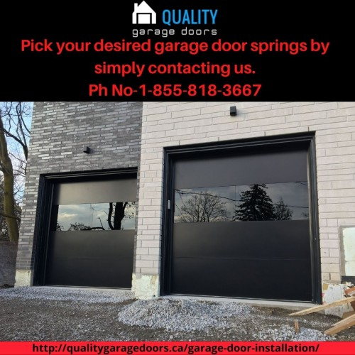 Are you confused about which garage door springs I should buy? Worry not; the Quality Garage door can help you pick the most suitable door springs; all you have to do is contact us. We offer all ranges of garage door springs in ontario at reasonable prices.  for visit more-http://qualitygaragedoors.ca/garage-door-installation/