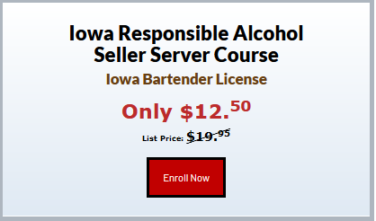 Our Iowa Responsible Alcohol Seller Server course certifies to sell and serve alcoholic beverages responsibly. This course is created by former bar and restaurant managers, bartenders, and servers. Free certificate and wallet card given immediately after completion.Read More: https://servingalcohol.com/iowa-alcohol-seller-server-course/