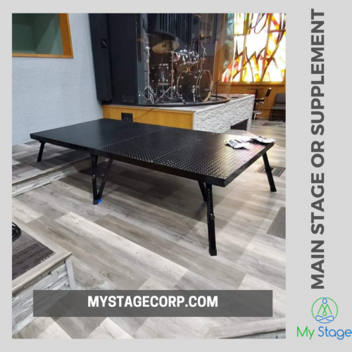 MyStage has become a leading brand offering the easy-to-carry lightweight collapsible stages that can be set by the users anywhere at their own. Designed with five legs screw mechanism, it gives much-required stability of anti-slip platform during the performances.  http://www.mystagecorp.com/