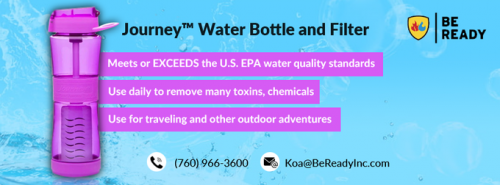 Buy now the best quality journey water bottle and filter from Be Ready Inc store in California. Call us on (760) 966-3600 or shop online here: https://bereadyinc.com/